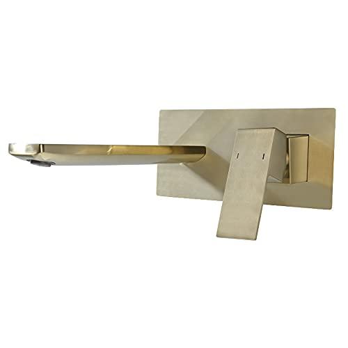 Grifo de cobre para lavabo de baño Grifo de lavabo de latón montado en la pared de un solo orificio dorado Grifos mezcladores de lavabo de lavabo Grifos de pared Grifos de pared Caño caliente y frío G