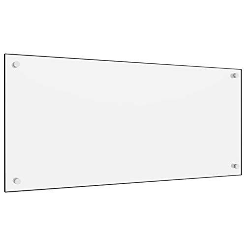 vidaXL Küchenrückwand Spritzschutz Fliesenspiegel Glasplatte Rückwand Herdspritzschutz Wandschutz Herd Küche Weiß 90x40cm Hartglas