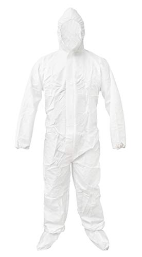White 55G Microporous Overalls with Boot Hood Elastic Cuffs Ankles Waist Heavy-Duty Protective Overalls Unisex Disposable Workwear for Cleaning Painting Manufacturing X-Large Size