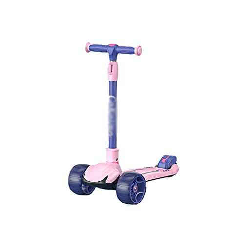 Patinete Scooter para Niños Scooter Plegable de Altura Ajustable para Niños de 2 A 12 Años de Antigüedad para Dirigir (Color : Pink)