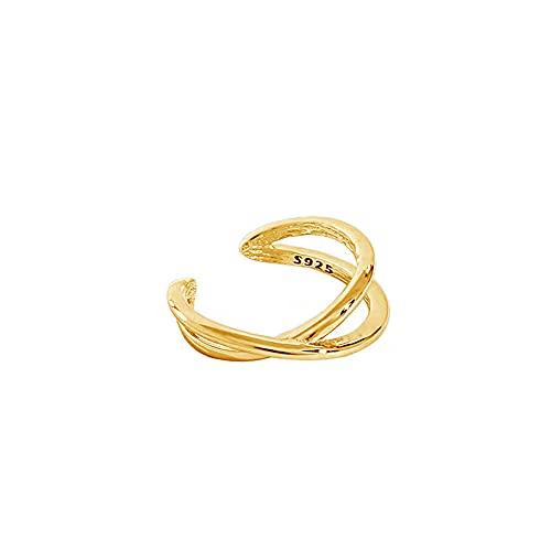 Pendientes de plata de ley 925 con cadena lisa para mujer, cierre de orejeras de lujo, sin pinzas para perforaciones, joyería fina Rock Punk, oro