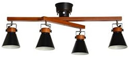 シーリングスポットライト/照明器具 【4灯】 スチール×天然木 ELUX(エルックス) SLIDER