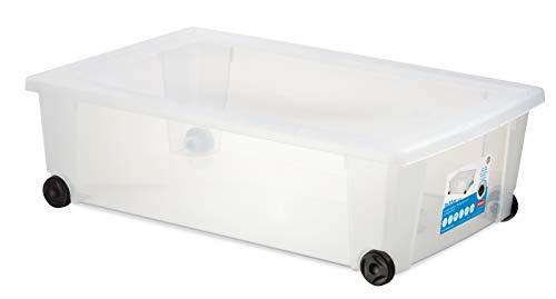 Stefanplast Roll-Box Contenitore Multiuso con Ruote, Bianco, 59x39x18.5h
