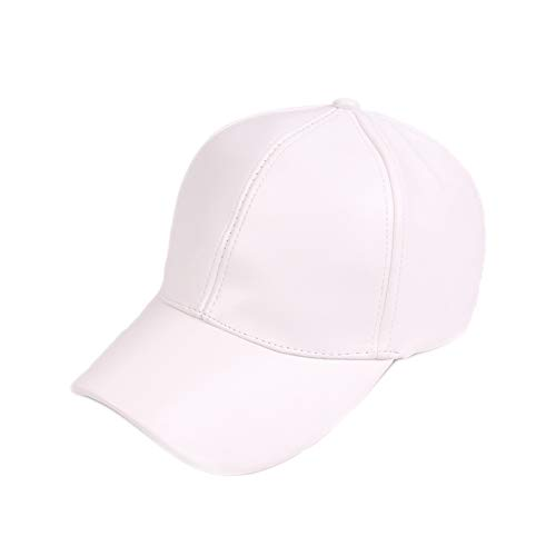 U2BUY Adjustable Baseball Cap Faux Leather Outdoor Sports Solid Sun Hat White