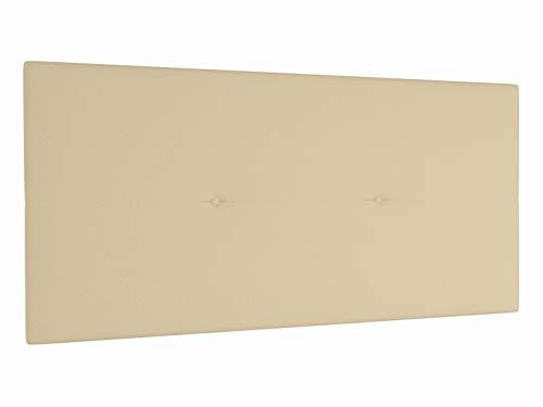 LA WEB DEL COLCHON Cabecero de Cama tapizado Acolchado Juvenil Julie 115 x 55 cms. para Camas de 80, 90 y 105 cms. Polipiel Color Beige. Incluye herrajes para Colgar con regulador de Altura