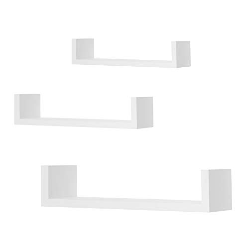 WOLTU Estantería para Pared Estantes flotantes Libros CDs Estante Colgante de Madera, Juego de 3 RG9311ws