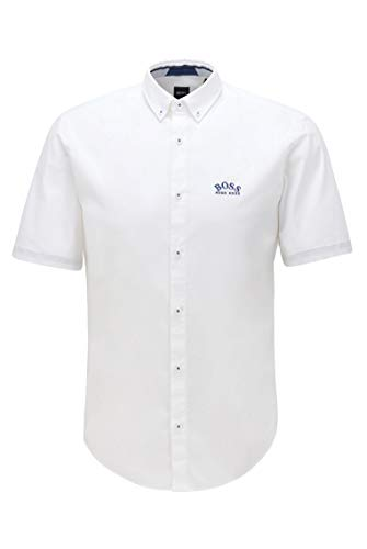 Photo of BOSS Mens BIADIA R Short-Sleeved Regular-fit Button-Down Shirt in Stretch poplin White