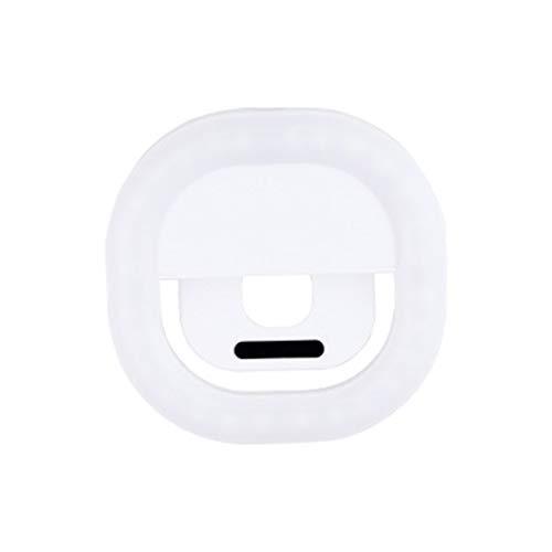 Teléfono móvil de la Lente de Belleza Clip de luz de Relleno, con Clip en el teléfono móvil Selfie Luz/LED Square Ring Luz de Relleno/para el teléfono/Ordenador portátil,Blanco
