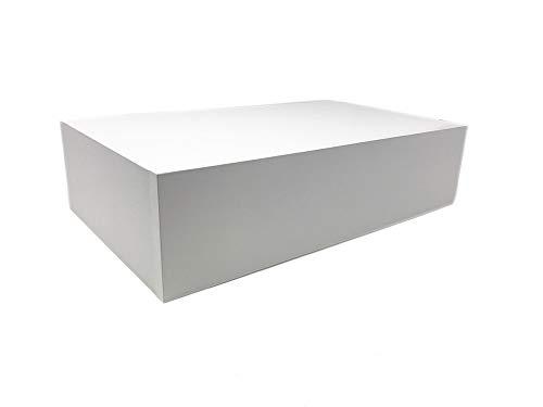 Vetrineinrete® Mensola da Parete con cassetto Estraibile a Scomparsa in Legno MDF scaffale con ripiano portaoggetti 40x24x10 cm A128 (Bianco)