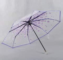 Raineed学生桜の花透明3段式折りたたみ傘8本骨/55cm高強度ガラス繊維傘骨耐風手動開閉おしゃれ多色オプション収納ポーチ付きビニール傘