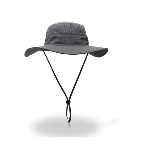 Maduoer Cappello da Sole da Uomo Cappello da Sole Traspirante a Tesa Larga Cappello da Sole Escursionismo Campeggio Pesca da Viaggio (Grigio)