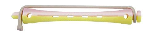Comair 3012008 kaltwell Lot de 12 bigoudis bicolore 8 mm courte ronde en caoutchouc jaune/rose