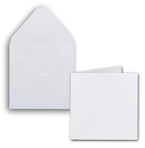50x Set Quadratische Karten inklusive Briefumschläge - Blanko 14 x 14 cm in Hochweiß - bedruckbare Einladungskarten - ideal zum Selbstgestalten & Kreieren