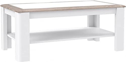 Ława Stolik Kawowy Biały Okolicznościowy z Półką do Salonu 110x60 Canne Forte (Dąb Nelson/Biały/Biały Połysk, 110x60)