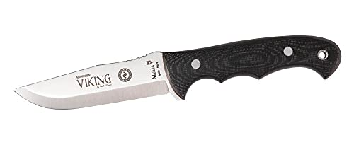 MUELA - VIKING.J-11M. Cuchillo de caza Muela. Mango de micarta negra. Hoja 11 cm. Funda cuero. Herramienta para Caza, Pesca, Camping, Outdoor, Supervivencia y Bushcraft