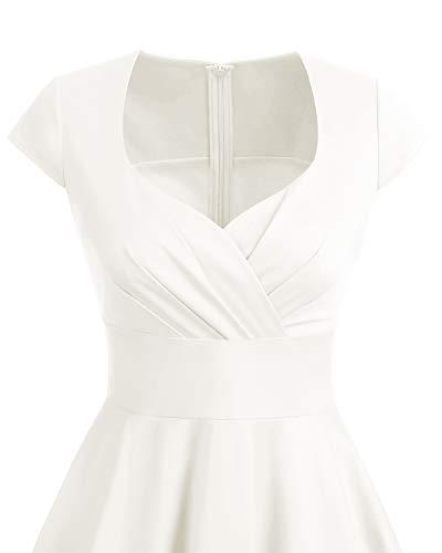 Bbonlinedress Vestido Corto Mujer Retro Años 50 Vintage Escote En Pico Off White XS