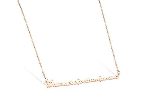 NA Collar Cadena Acero Inoxidable Collares Pendientes para Hombres Carta de Amor Date Me Befoure Tam Famous Rose Gold