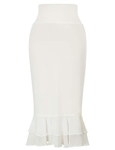 GRACE KARIN Women's Plus Size Underskirt Dress and Skirt Extender with Chiffon Ruffle Trim (Ivory, XXL)