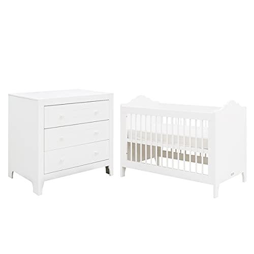 Lit bébé 60x120 et commode à langer 3 tiroirs Evi - Blanc