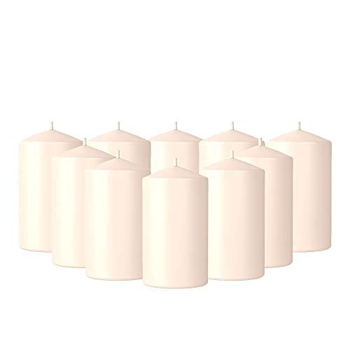 Set 10 Velas Grandes Pack Velones Color Crema Decorativas Largas 10 Piezas de 90 x 40 mm Larga Duración Ideales para Regalos
