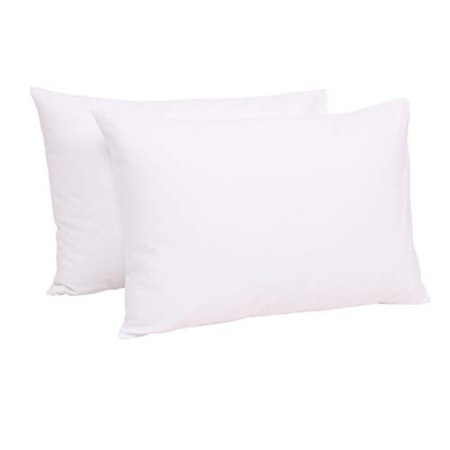 Belsden 100% Pure Cotton Toddler Pillowcases, Pack of 2, 14 inches x 20 inches, Breathable Moisture Absob and Fits Travel Mini Pillows up to 14 inches x 19 inches, Envelope Closure, Pure White