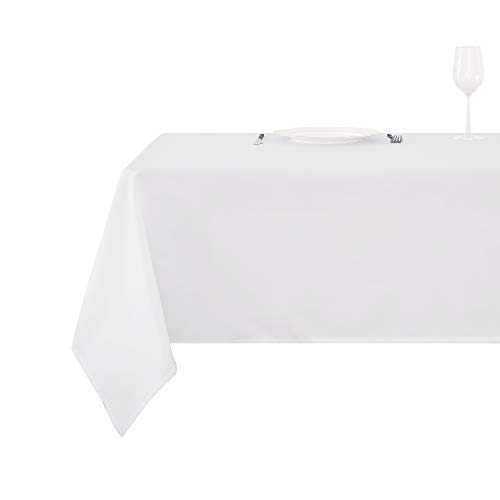 Deconovo Tischdecke Wasserabweisend Tischwäsche Lotuseffekt Tischtücher 150x300 cm Weiß