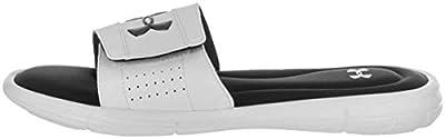 Under Armour Men's Ignite V Slide Sandal, White (100)/Black, 13