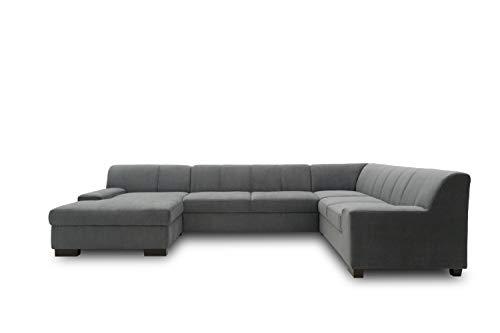 DOMO. collection Norma Wohnlandschaft, Sofa U-Form, Schlafsofa, Bettfunktion, Polstergarnitur, DKL. Grau, 153/328/212 cm