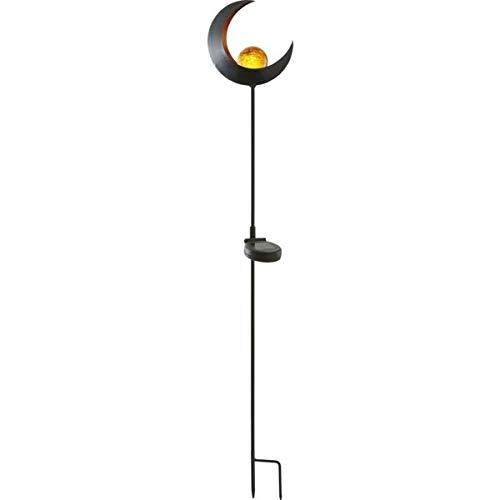Kamaca XL LED SOLAR Gartenstab Wegeleuchte Gartenleuchte MOND Metallstab mit beleuchteten Acryl-Kugel mit 1 Amber LED SOLARPANEL inklusive Erdspieß (MOND)