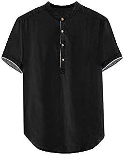 Fbnzmluqdx Tshirt for Men Men's Baggy Solid Cotton Linen Short Sleeve Button Plus Size T Shirt Tops Blouse Good Quality Me...
