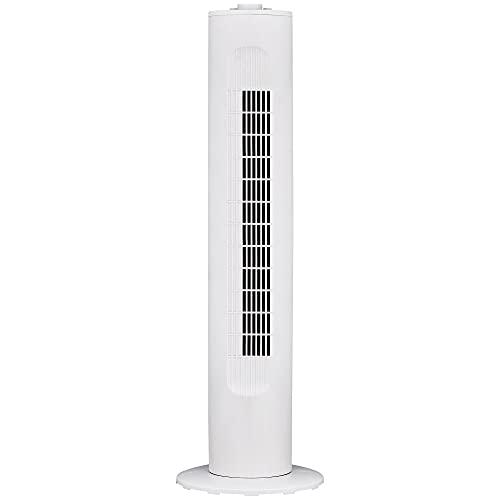 "MYLEK Electric Tower Fan Oscillating 30"" - Timer, 45w, 3 Speed Settings, Quiet Operation, Lightweight Design - White"