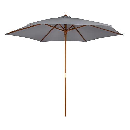 Aktive - Parasol hexagonal Garden diámetro 300 cm - Mástil de madera 48 mm - Color gris (ColorBaby 53864)