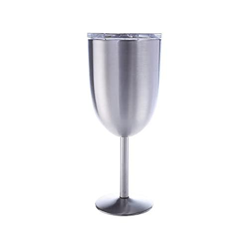 ZIS Copas de Vino de Acero Inoxidable Grande, 300 ml Vidrio 304 Coctel de Acero Inoxidable Vidrio de Vino de Vidrio Gran Ajuste para Diario, CAMPIN (Color : Silver)