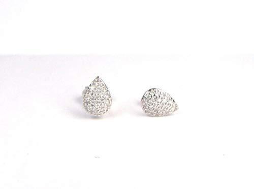 14k gold pear shape pave set 0.24 carat diamond stud earrings (0.24 Ct Pave Diamond)