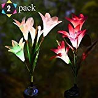 Lily Solar Light Outdoor Solar Garden Stake Lights 2 Pack,Multi-Color Changing Garden