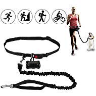 Hands Free Premium Running Dog Leash, Reflective Leash Adjustable Waist Belt + Strong Bungee Leash + Poop Bag Holder
