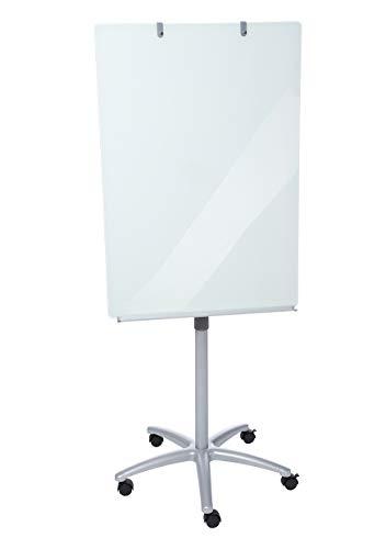Dahle 96012 Flip Chart Glas (Schreibfläche aus Glas: 100 x 70 cm, Aufstellhöhe 190 cm, höhenverstellbar, mit Ablagefach, magnetisch)