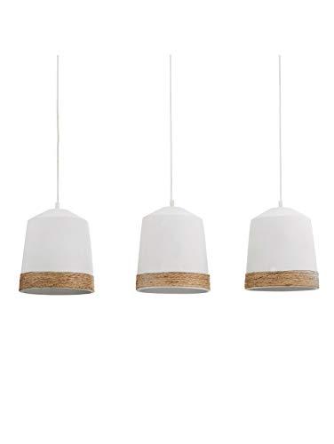 IMPRESSIONEN living Deckenleuchte - Hängelampe mit 3 Lampenschirmen - Beton Textilkabel - Weiß