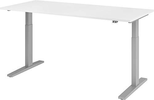 bümö® elektrischer Sitz & Steh Schreibtisch höhenverstellbar 180 x 80 cm in weiß - Gestell in Silber