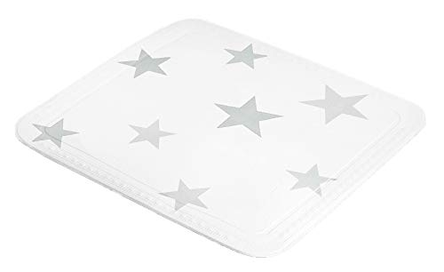 Kleine Wolke Stars Duscheinlage, PVC Schaum, Silbergrau, 55x 55 cm