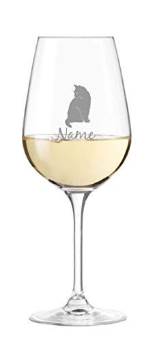 KS Laserdesign Leonardo Weinglas mit Katze Motiv und persönlicher Gravur - personalisiert mit Name oder Text, Geschenkidee, Katzenliebhaber, Tierliebhaber, Weihnachten, Geburtstag