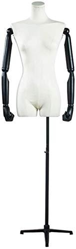 ZSY Maniquíes de Costura Código de Vestimenta Corporal con Brazos de Madera Negros Ajustables de Hierro trípode a la exhibición de la joyería de la Ropa (Color : White)