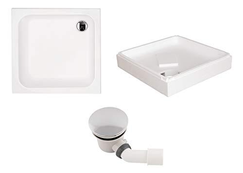 'aquaSu® Acryl-Brausewannen Set | Duschwanne, Brausewanne mit Wannenträger und Excenter Ablaufgarnitur | 90 x 90 x 6,5 cm | Weiß