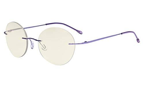 Eyekepper Randlose Gleitsichtbrille Multifokus-Lesebrille Blaulichtfilter Runde Retro-Lesebrille für Damen Herren Lila +2.00