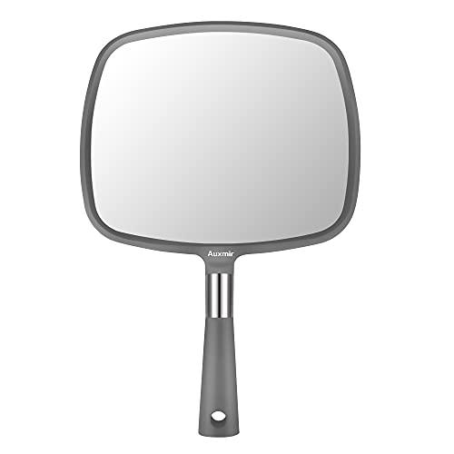Auxmir Specchio Trucco Specchio Portatile Professionale Specchio Parrucchiere 23x20 cm Specchio a Mano con Manico Antiscivolo Alta Definizione per Barbiere Salone, Grigio