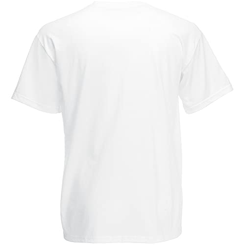 Fruit of the Loom - Camiseta Básica de Manga Corta de Calidad diseño Original Hombre Caballero (Grande (L)) (Blanco)