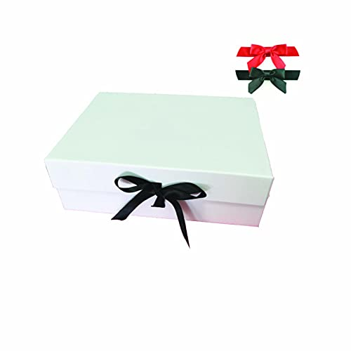 Boite cadeau vide : Taille - L, coffret vide à fermeture magnétique et ruban noiret rouge, boite de rangement aimantée, livré a plat, montage très facile-(33 cm x 21 cm x 11 cm)