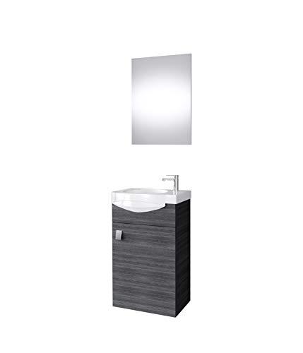 Planetmöbel Badmöbel Set Gäste WC Waschtischunterschrank Keramikwaschbecken Spiegel Anthrazit