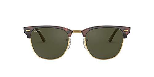 Ray-Ban Clubmaster - Gafas de sol para hombre, Marrón (Marco: Havana, Vidrio: Verde Clásico W0366), 49 milímetros