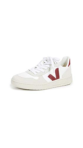 Veja Women's V-10 Lace Up Sneakers, White/Marsala, 9 Medium US